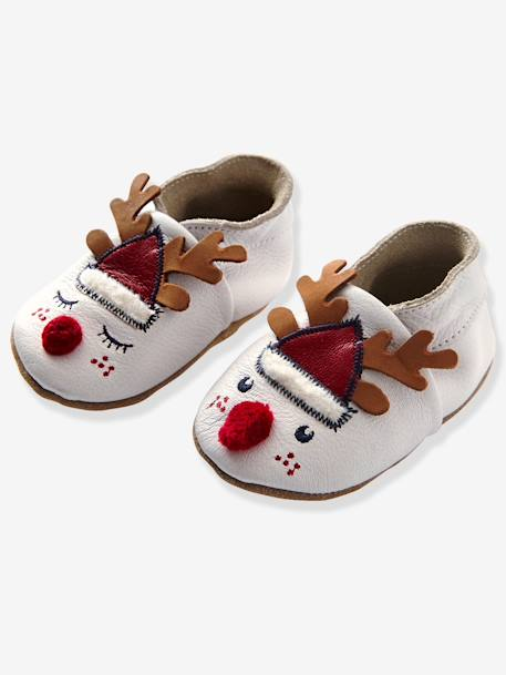 Baby Slippers in Soft Leather WHITE MEDIUM SOLID WITH DESIGN - vertbaudet enfant