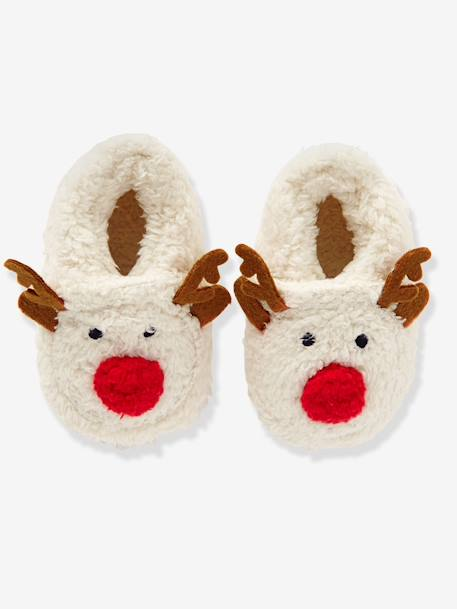 Faux Fur Slippers WHITE MEDIUM SOLID WITH DESIGN - vertbaudet enfant