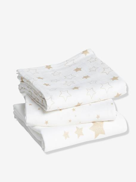 Pack of 3 Nappies WHITE LIGHT SOLID WITH DESIGN - vertbaudet enfant