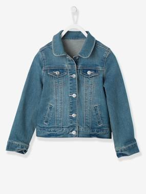 Fille-Manteau, veste-Veste-Veste fille en denim stretch