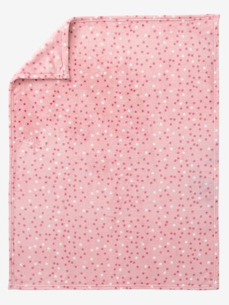 Star Printed Microfibre Blanket Blue+Light grey+PINK LIGHT ALL OVER PRINTED - vertbaudet enfant