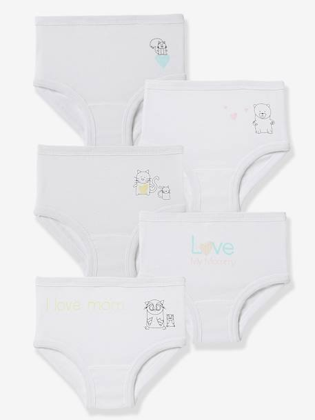 Pack of 5 Baby Pure Cotton Underwear, Designed for Nappies Printed white - vertbaudet enfant
