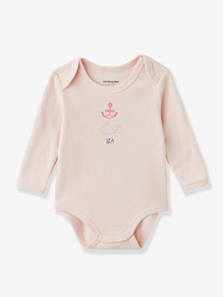 Baby Pack of 3 Coloured Long-Sleeved Bodysuits, Yacht Motif, Organic Collection BLUE DARK TWO COLOR/MULTICOL+GREY LIGHT TWO COLOR/MULTICOL+Pale pink+PINK MEDIUM 2 COLOR/MULTICOL - vertbaudet enfant