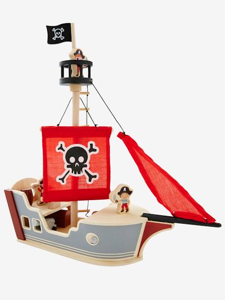 Pirate Boat GREY MEDIUM SOLID WITH DESIGN - vertbaudet enfant