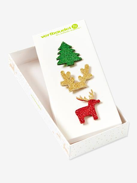 Pack of 3 Christmas Pins BEIGE MEDIUM SOLID WITH DECOR - vertbaudet enfant