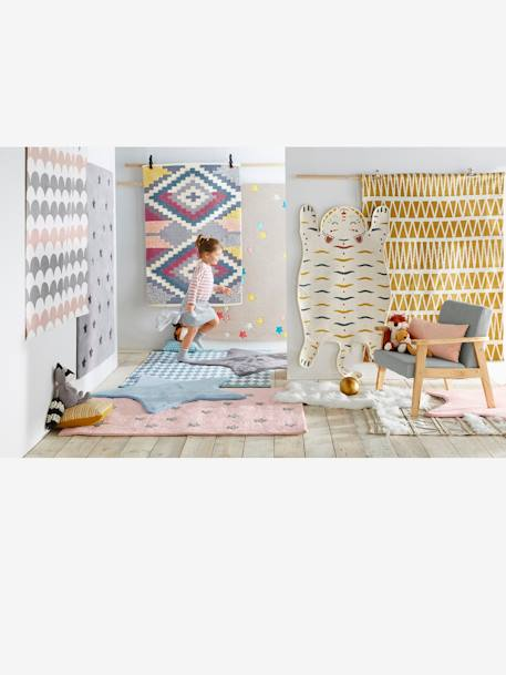 Star-Shaped Rug Blue+Grey+Pink - vertbaudet enfant