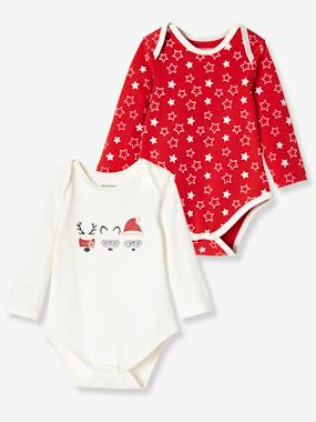 Baby-Bodysuits & Sleepsuits-Pack of 2 Long-Sleeved Christmas Bodysuits, in Stretch Cotton