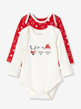 Vertbaudet Collection-Pack of 2 Long-Sleeved Christmas Bodysuits, in Stretch Cotton