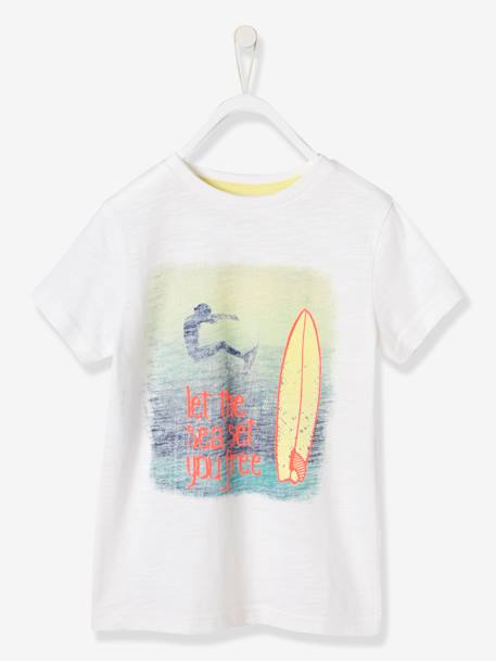 Boys' T-Shirt, Surf Photoprint WHITE LIGHT SOLID WITH DESIGN - vertbaudet enfant