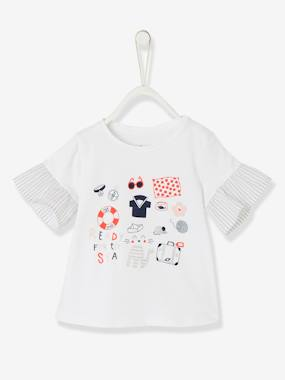 Outlet-Baby Girls' Dual Fabric Top
