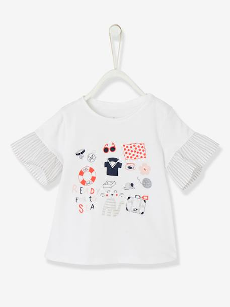 Baby Girls' Dual Fabric Top WHITE LIGHT SOLID WITH DESIGN - vertbaudet enfant