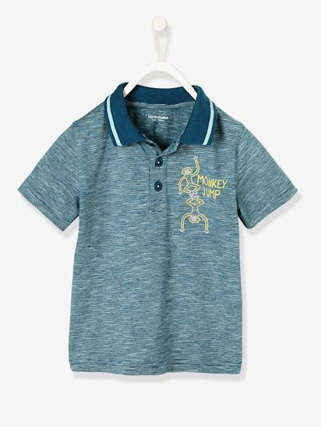 Boys' Short-Sleeved Striped Polo Shirt BLUE MEDIUM STRIPED - vertbaudet enfant