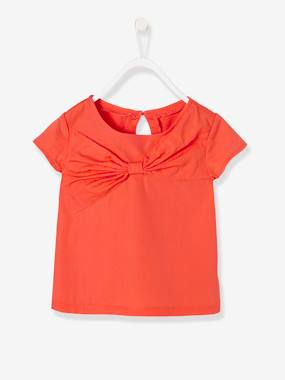 Girls-Tops-T-Shirts-Girls' Dress with Decorative Bow