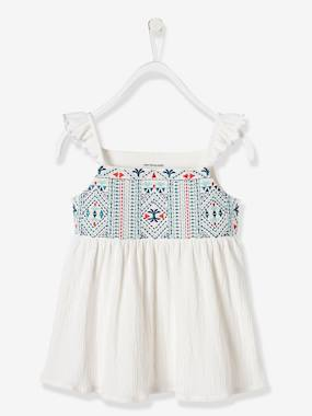 Vertbaudet Sale-Girls-Girls' Embroidered Top