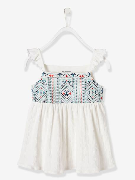 Girls' Embroidered Top GREEN LIGHT SOLID WITH DESIGN+WHITE LIGHT SOLID WITH DESIGN - vertbaudet enfant