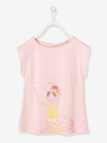 Girls' T-Shirt PINK LIGHT SOLID WITH DESIGN+WHITE LIGHT SOLID WITH DESIGN - vertbaudet enfant