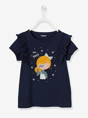 Girls-Tops-T-Shirts-Girls' Long-Sleeved T-shirt with Frills