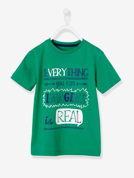 Boys' T-Shirt with Wording GREEN LIGHT SOLID WITH DESIGN - vertbaudet enfant