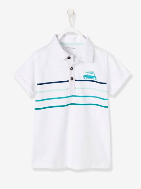 Boys' Polo Shirt with Waves BLUE MEDIUM SOLID WITH DESIGN+GREEN LIGHT SOLID WITH DESIGN+WHITE LIGHT SOLID WITH DESIGN - vertbaudet enfant