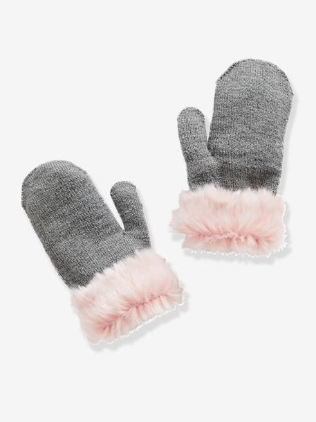 Girls' Gloves & Mittens with Faux Fur Trim GREY MEDIUM MIXED COLOR - vertbaudet enfant