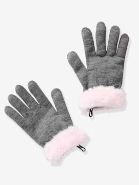 Girls-Accessories-Winter Hats, Scarves, Gloves & Mittens-Girls' Gloves & Mittens with Faux Fur Trim