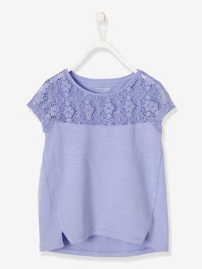 Girls-Tops-T-Shirts-Girls Short-Sleeved Lace T-Shirt