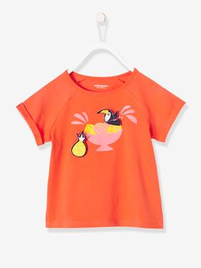 Girls-Tops-T-Shirts-Girls' T-Shirt with Motif & Patches