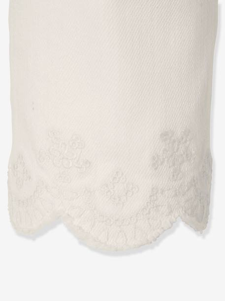 Baby Girls' Trousers with Embroidery at the Hem WHITE LIGHT SOLID - vertbaudet enfant
