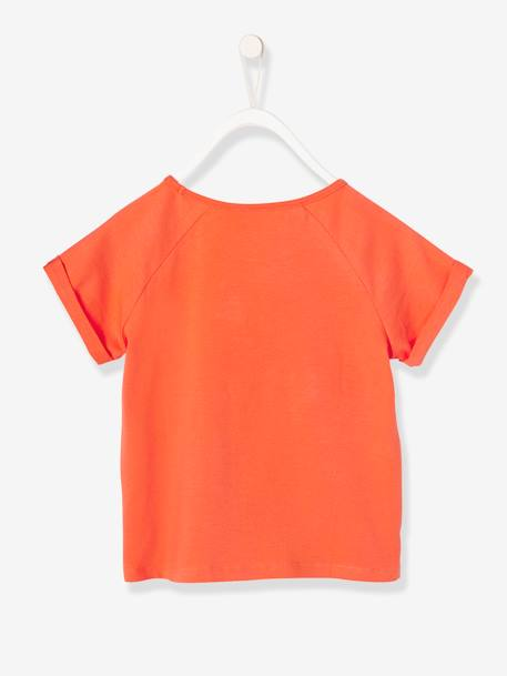 Girls' T-Shirt with Motif & Patches ORANGE BRIGHT SOLID WITH DESIG+WHITE LIGHT SOLID WITH DESIGN - vertbaudet enfant