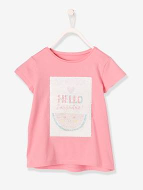 Girls-Tops-T-Shirts-Girls' T-Shirt with Reversible Sequins
