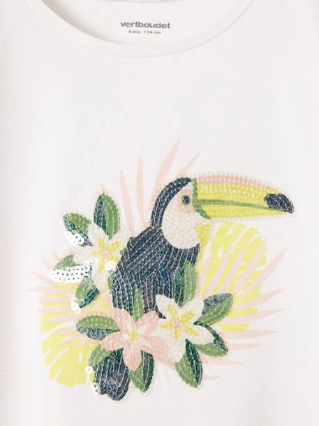 Girls' T-Shirt with Toucan Print WHITE LIGHT SOLID WITH DESIGN - vertbaudet enfant