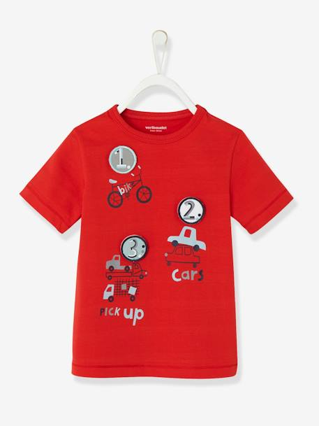 Boys' Top with Detachable Patches RED BRIGHT SOLID WITH DESIG+WHITE LIGHT SOLID WITH DESIGN - vertbaudet enfant