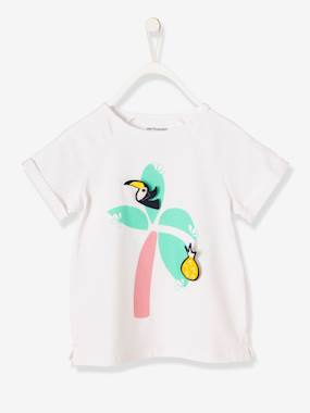 Vertbaudet Sale-Girls-Girls' T-Shirt with Motif & Patches