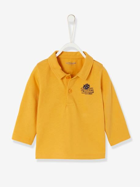 Baby Boys' Long-Sleeved Polo Shirt, Motif on the Back ORANGE LIGHT SOLID WITH DESIGN - vertbaudet enfant