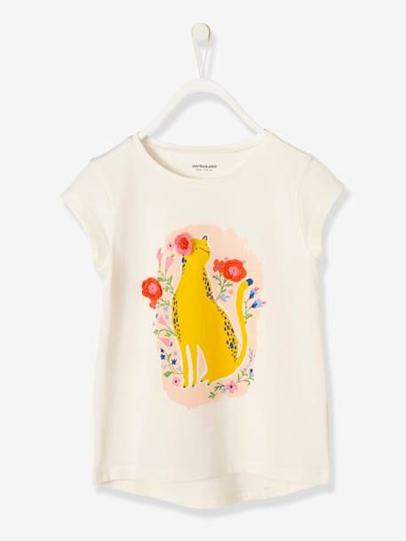 Girls' T-shirt with Print and Embroidery WHITE LIGHT SOLID WITH DESIGN - vertbaudet enfant