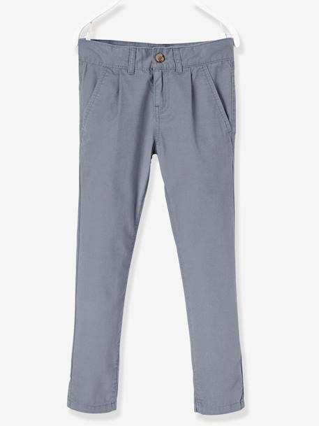 Boys' Poplin Chinos BLUE MEDIUM SOLID - vertbaudet enfant