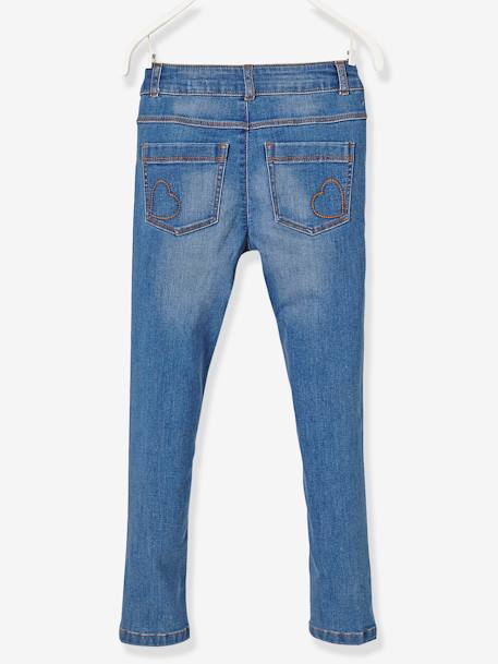 MEDIUM Fit, Girls' Slim Fit Jeans BLUE DARK WASCHED+GREY MEDIUM WASCHED - vertbaudet enfant