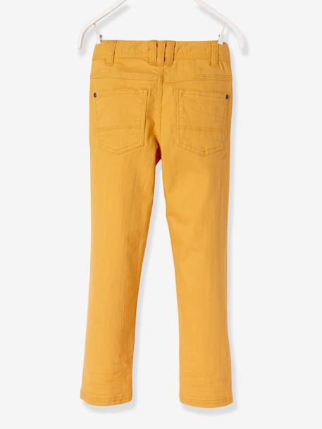 WIDE Fit - Boys' Slim Cut Trousers BLUE DARK SOLID+GREEN DARK SOLID+ORANGE LIGHT SOLID+PINK DARK SOLID - vertbaudet enfant