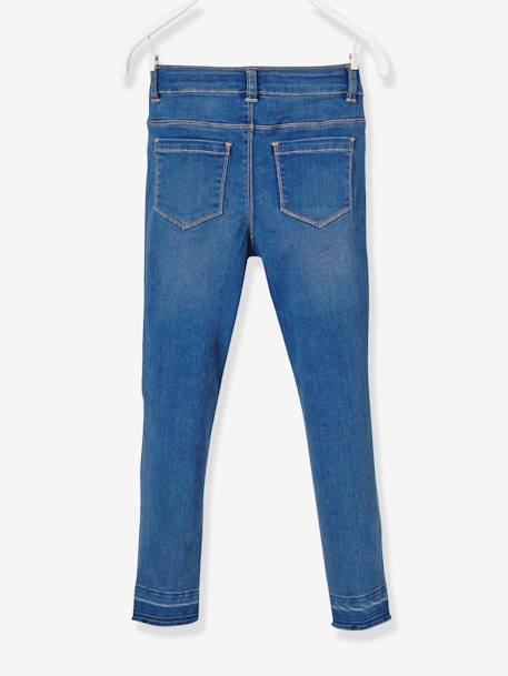 LARGE Fit, Girls' Slim Fit Jeans BLUE DARK WASCHED - vertbaudet enfant