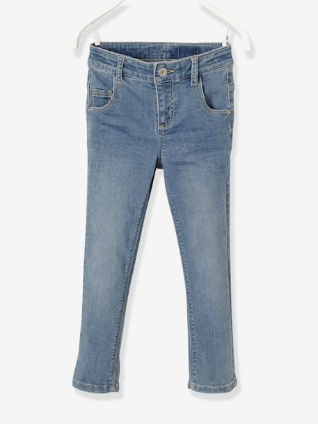 NARROW Fit, Girls' Cropped Slim Fit Denim Trousers BLUE LIGHT WASCHED - vertbaudet enfant