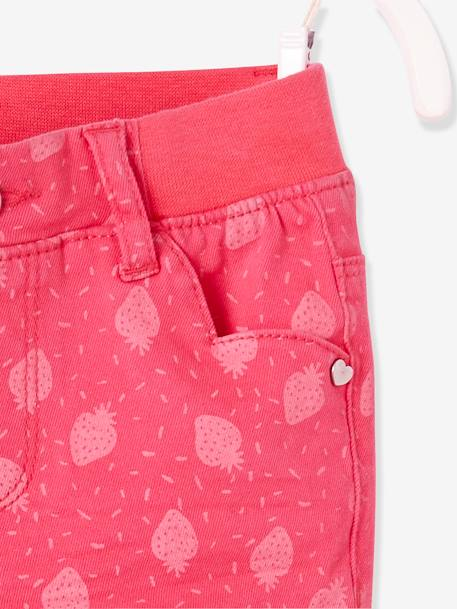 NARROW Fit - Girls' Slim Fit Trousers GREEN LIGHT SOLID+RED LIGHT ALL OVER PRINTED - vertbaudet enfant