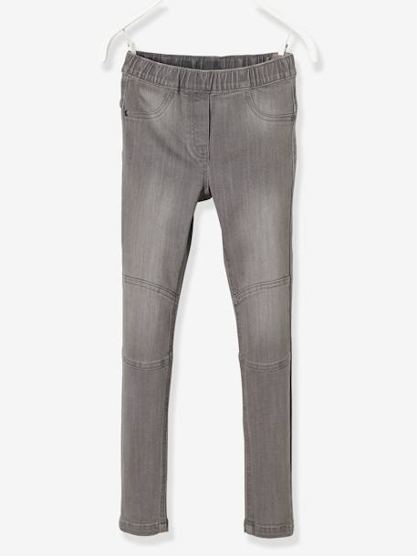MEDIUM Fit, Girls' Denim Treggings GREY MEDIUM WASCHED - vertbaudet enfant