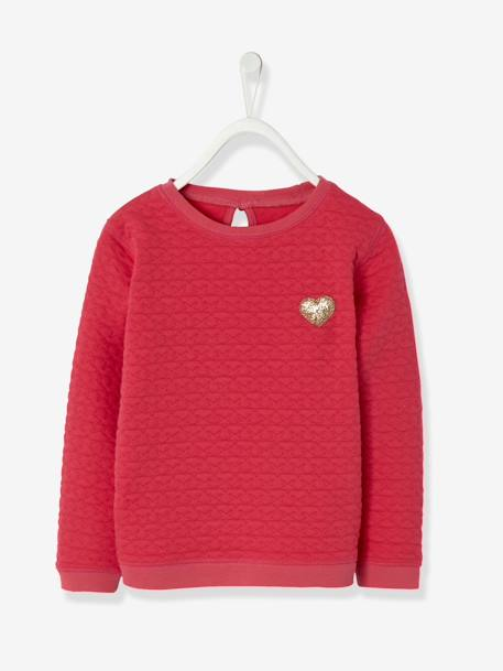 Sweat fille molleton texturé Encre+ROSE VIF - vertbaudet enfant