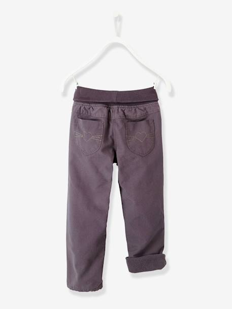 Pantalon indestructible fille doublé polaire ANTHRACITE+ROSE MAGENTA - vertbaudet enfant