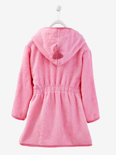 Child's Hooded Bathrobe Pink+White - vertbaudet enfant