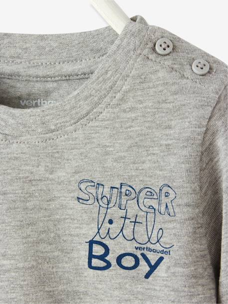 Baby Boys' T-Shirt with Graphic Print Grey marl+Navy - vertbaudet enfant