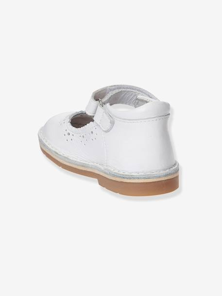 Baby Girls Leather Mary Jane Shoes With Touch N Close Tabs White