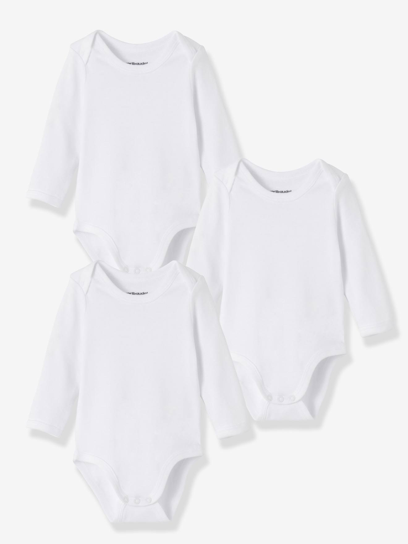 Baby Pack of 3 Long Sleeve Bodysuit Vests Tops Tiny Sizes from Prem Baby to 12 Months