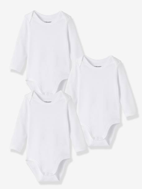 Baby Pack of 3 Long-Sleeved White  Bodysuits in Pure Cotton White - vertbaudet enfant