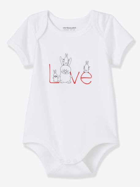 Baby Pack of 5 Pure Cotton Bodysuits with Graphic Print, Short Sleeves White - vertbaudet enfant